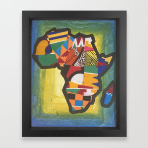 African Kente Cloth Mixed Media Artwork